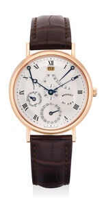 Breguet, 'A fine and rare pink gold perpetual calendar wristwatch with silvered dial, perpetual equation of time and power reserve indicator', Circa 2010