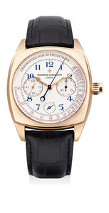 Vacheron & Constantin, 'A fine and rare pink gold single-button chronograph wristwatch with power reserve indication, pulsometer dial, certificate and box, numbered 230 of a limited edition of 260 pieces', Circa 2015