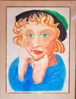 David Hockney, 'Celia with Green Hat', 1984