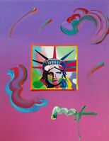Peter Max, 'LIBERTY HEAD (OVERPAINT)', 2010