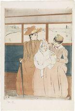 In the Omnibus (Interieur d'un tramway passant un pont)