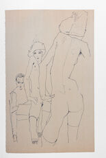 Schiele Drawing a Nude Model Before a Mirror (1910)