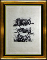 Henry Moore, 'Henry Moore Lithograph HAND SIGNED Reclining Figures Sculpture Painting Bronze', 20th Century
