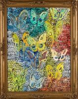 Hunt Slonem, 'Hunt Slonem Original Polyphemus Butterfly Painting Contemporary Art ', 2019