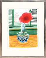 David Hockney, 'My Window with iPad drawing No. 281, 23rd July 2010, Rose in a Glass Vase', 2020