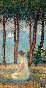 Henri Martin, 'Jeune fille dans un parc', 1860-1943