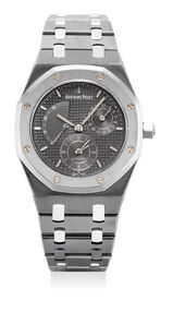 Audemars Piguet, 'A fine and rare attractive tantalum and stainless steel wristwatch with dual time, power reseve,date and bracelet', 2004