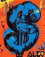 Alec Monopoly, 'Money Screen Blue and orange background', 2020