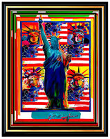 Peter Max, 'PETER MAX Original PAINTING GOD BLESS AMERICA 5 Statue of Liberty HEADS Signed', 21st Century
