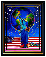 Peter Max, 'PETER MAX Original PAINTING PEACE ON EARTH Statue of Liberty HEAD Signed Art', 21st Century