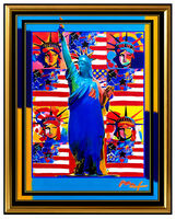 Peter Max, 'PETER MAX Original PAINTING God Bless AMERICA Statue of Liberty HEAD Signed SBO', 21st Century