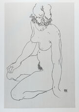 Kneeling Female Nude, Turning to Right (1918)