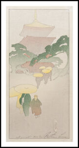 Bertha Lum, 'Temple in Rain', 1916