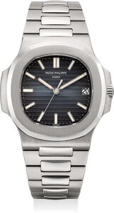 Patek Philippe, 'A very fine and rare stainless steel automatic wristwatch with center seconds, date, bracelet, certificate, and original accessories, factory sealed', 2015