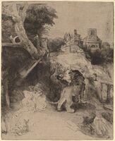 Rembrandt van Rijn, 'Saint Jerome Reading in an Italian Landscape', ca. 1653