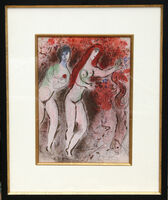 "Marc Chagall, 'Adam and Eve and the Forbidden Fruit from ""Drawings for the Bible""', 1960"
