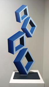 "Daniel Sanseviero, '""4 Blue Boxes"" illusion sculpture, 28x 12"" Metal and Enamel', 2019"
