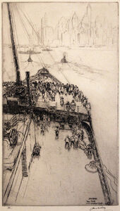 """James McBey, 'Approaching New York No. 2  [View Onboard """"The Majestic""""]', 1934"""