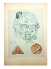 "Original Lithograph ""Three Woman"" By Alphonse Mucha"