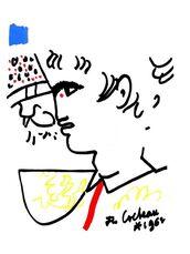 """Original Lithograph """"Portrait"""" by Jean Cocteau"""