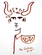 "Original Lithograph ""Bullman"" by Jean Cocteau"