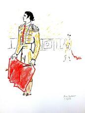 "Original Lithograph ""Bulls"" by Jean Cocteau"