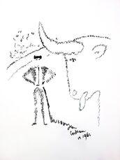 """Original Lithograph """"Portrait of a Bull"""" by Jean Cocteau"""