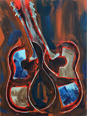Untitled, Sliced guitar with acrylic paint on canvas
