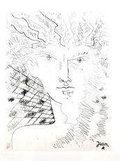 """Original Etching """"Portrait"""" by Jean Cocteau"""
