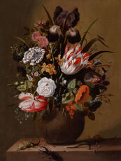 Roses, tulips, an iris and other flowers in a stoneware vase on a ledge with a lizard, stag beetle and snail