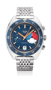 Heuer, 'A very well-preserved and rare stainless steel yacht timer chronograph wristwatch with date and Gay Frères bracelet', Circa 1972
