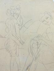 Standing Woman and Sewing Girl | Stehende Frau und nähendes Mädchen