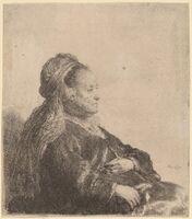 Rembrandt van Rijn, 'The Artist's Mother Seated, in an Oriental Headdress', 1631