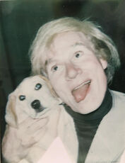 Peter Beard and Andy Warhol with dog
