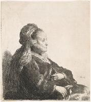 Rembrandt van Rijn, 'THE ARTIST'S MOTHER SEATED, IN AN ORIENTAL HEADDRESS: HALF LENGTH', 1631