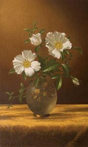 Martin Johnson Heade, 'Cherokee Roses in an Opalescent Vase', ca. 1883-1895