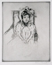 Margot Wearing a Large Bonnet, Seated in an Armchair.