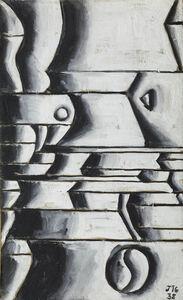 Joaquín Torres-García, 'Estructura en blanco y negro con ritmos curvos y oblicuos (Structure in white and black with curved and oblique rhythms)', 1938