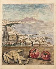 Veduta di Napoli con maccheroni e pomodori