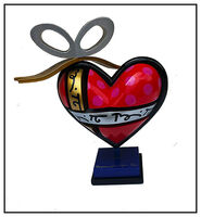 Romero Britto, 'Romero Britto Original Painting Wood Sculpture My Gift Heart Signed Modern Art', 20th Century