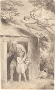 Thomas Stothard, 'Peter and His Children Visited by Three Flying Figures', ca. 1783