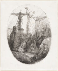 Christ Crucified Between Two Thieves:  An Oval Plate