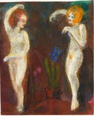 Akte, zwei Frauen blass (vor dunklem Grund mit Blumen)
