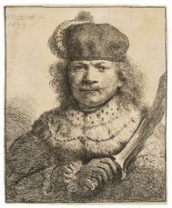 Self-Portrait with a Raised Sabre
