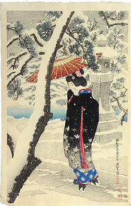 Itō Shinsui, 'The First Collection of Modern Beauties: Snow at the Shrine', 1930
