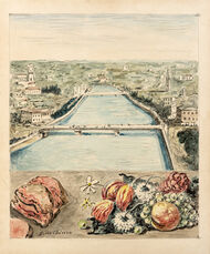 Veduta di Verona con carne, verdura e frutta