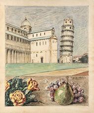 Veduta di Pisa con fiori e frutta d'Italia