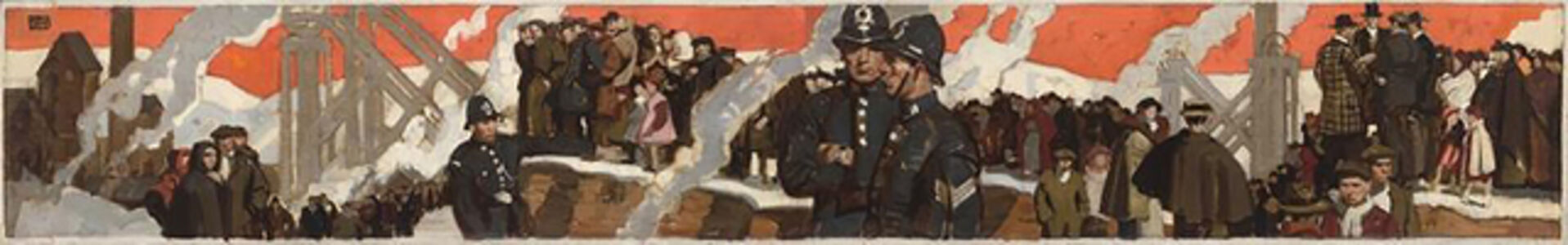 Dean Cornwell, 'Bobbies and Crowds Gathered in Industrial Setting', 1935