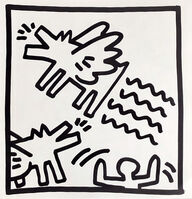 Keith Haring, 'Keith Haring (untitled) Flying Dogs lithograph 1982 ', 1982