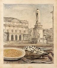 Veduta di Milano con risotto e cacciagione
